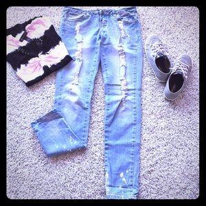 Denim - Distressed sequin skinny jeans 💎